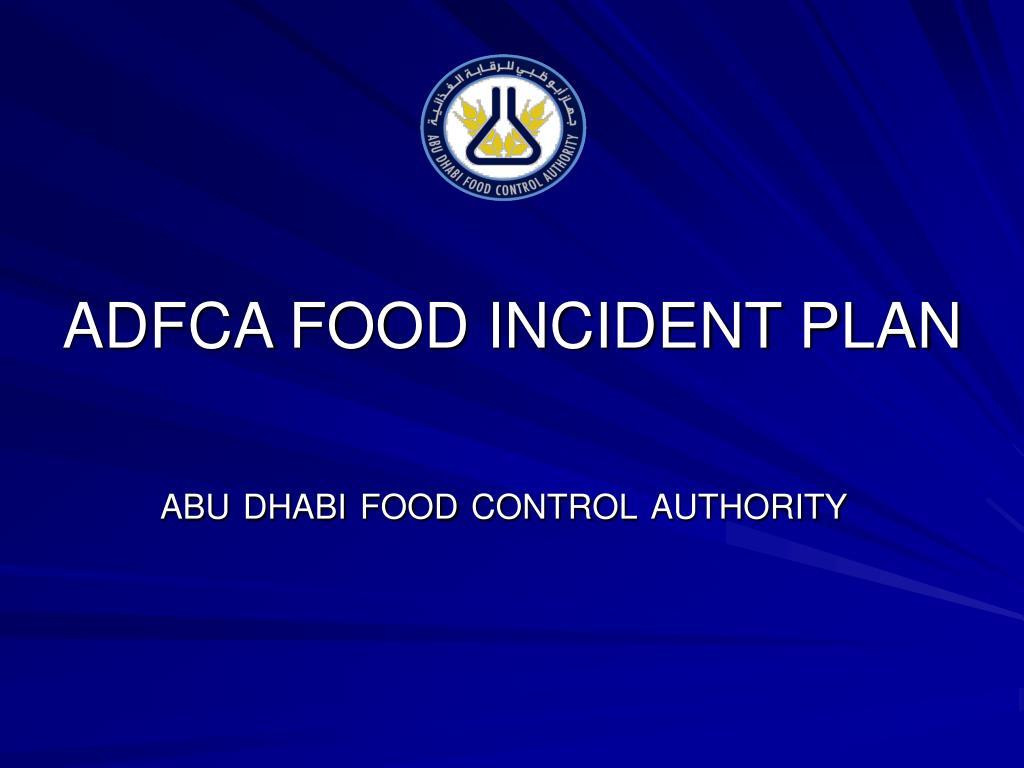 adfca food incident plan