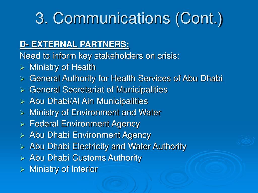 3. Communications (Cont.)