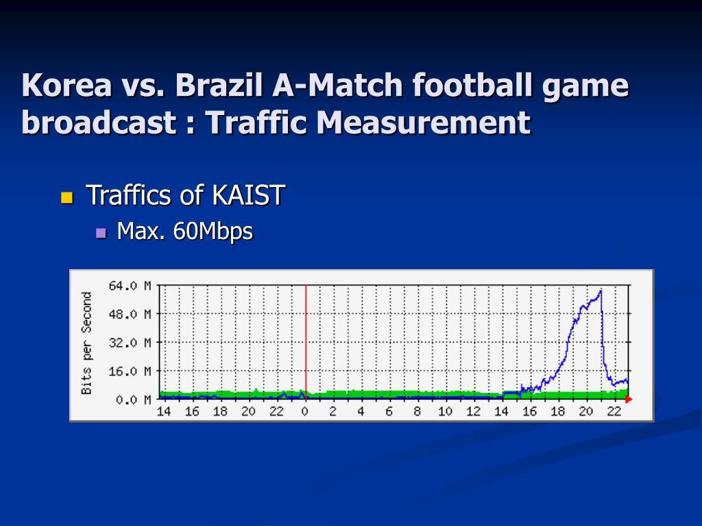 Korea vs. Brazil A-Match football game broadcast : Traffic Measurement