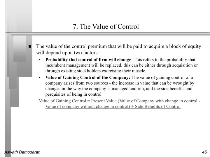 7. The Value of Control