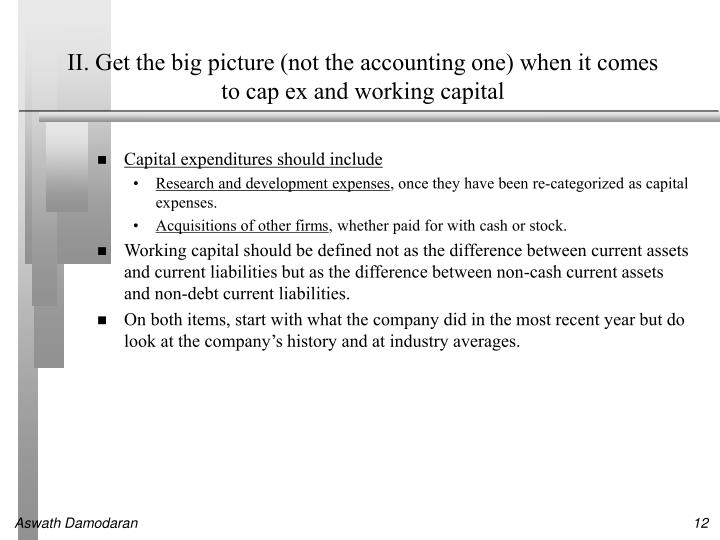II. Get the big picture (not the accounting one) when it comes to cap ex and working capital