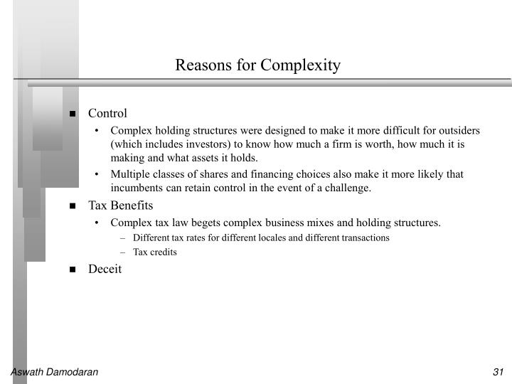 Reasons for Complexity