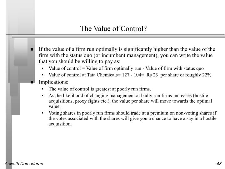 The Value of Control?