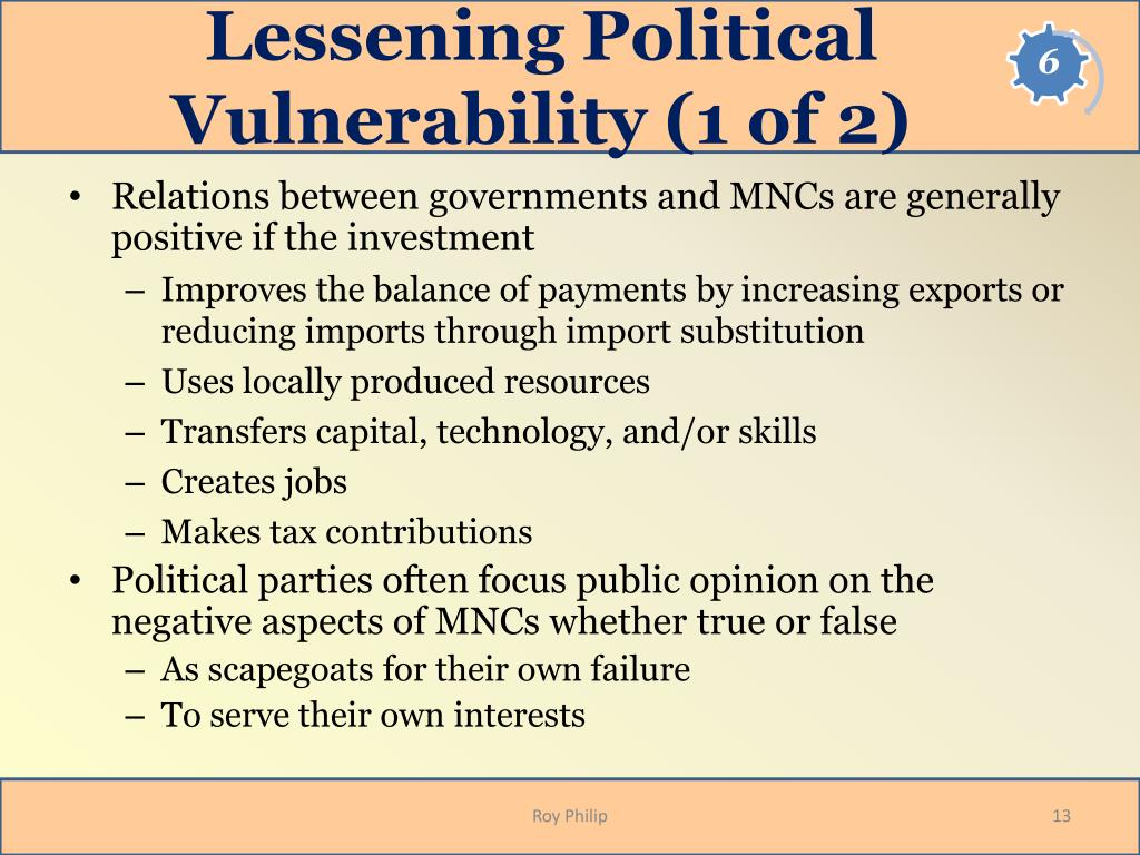 Lessening Political Vulnerability (1 of 2)