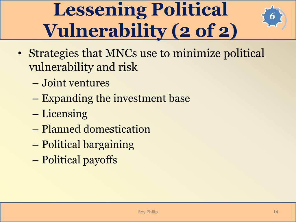 Lessening Political Vulnerability (2 of 2)