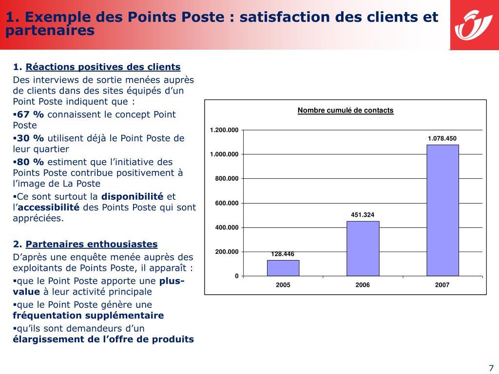 1. Exemple des Points Poste : satisfaction des clients et partenaires