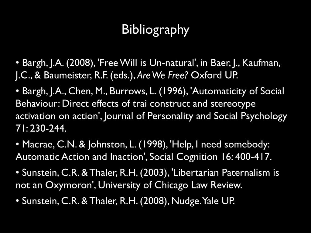 Bargh, J.A. (2008), 'Free Will is Un-natural', in Baer, J., Kaufman, J.C., & Baumeister, R.F. (eds.),