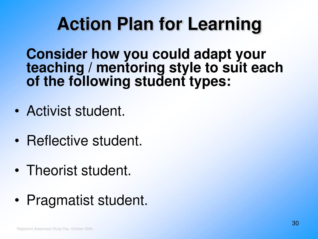 Action Plan for Learning