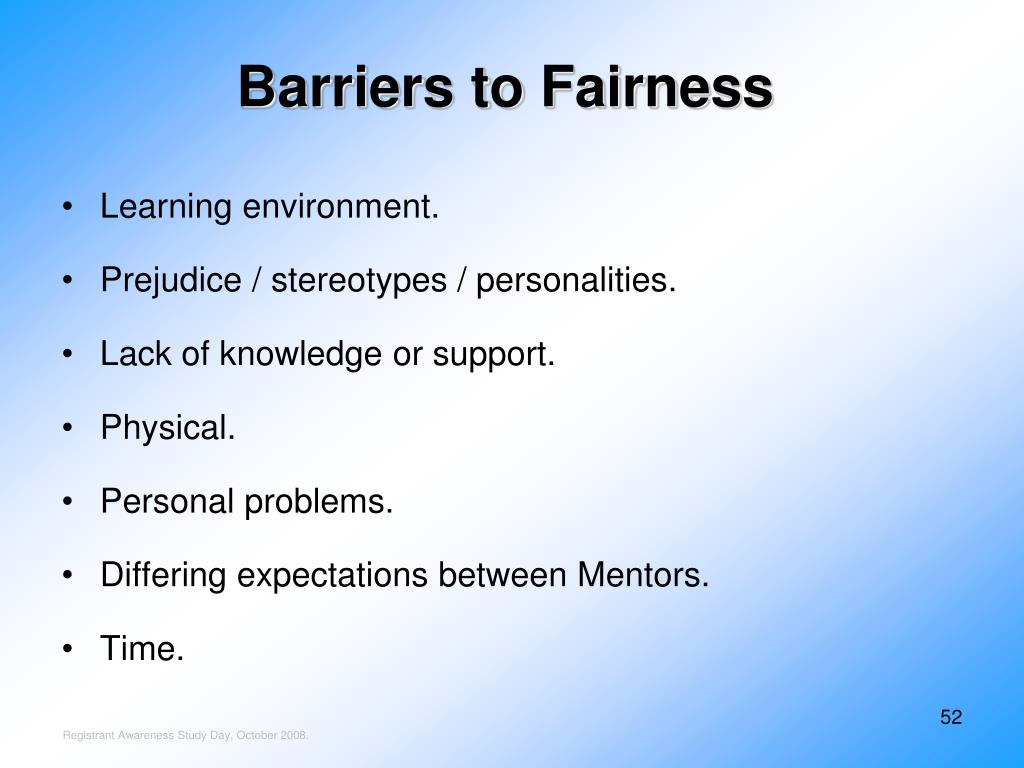 Barriers to Fairness
