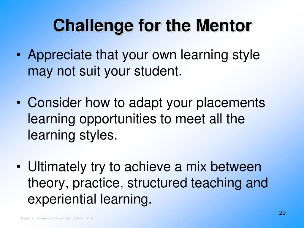 Challenge for the Mentor
