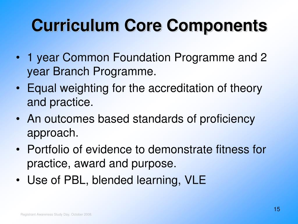 Curriculum Core Components