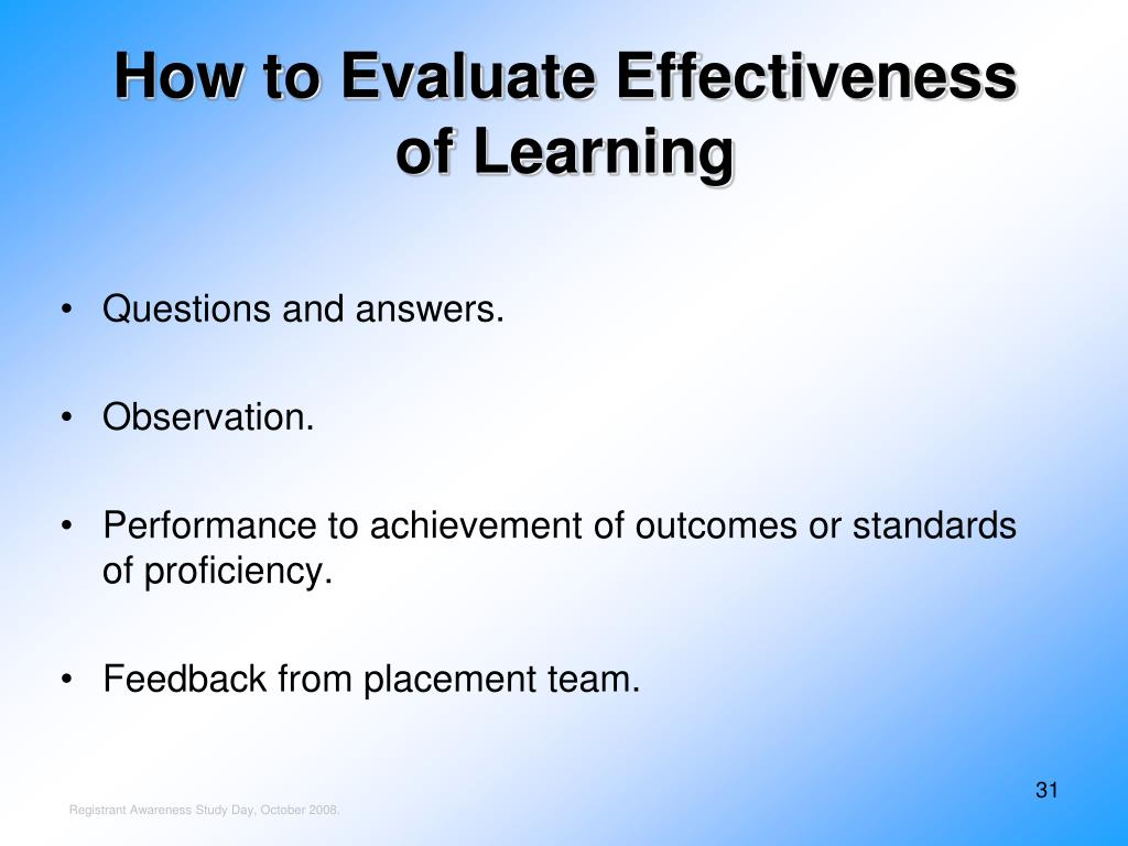 How to Evaluate Effectiveness