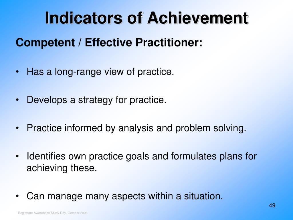 Indicators of Achievement