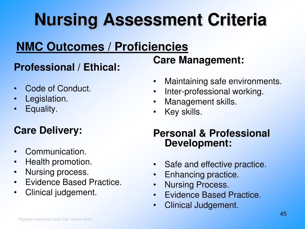 Nursing Assessment Criteria