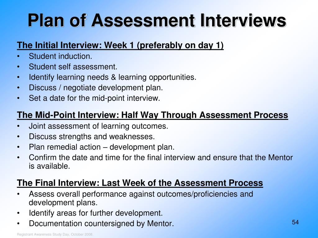 Plan of Assessment Interviews