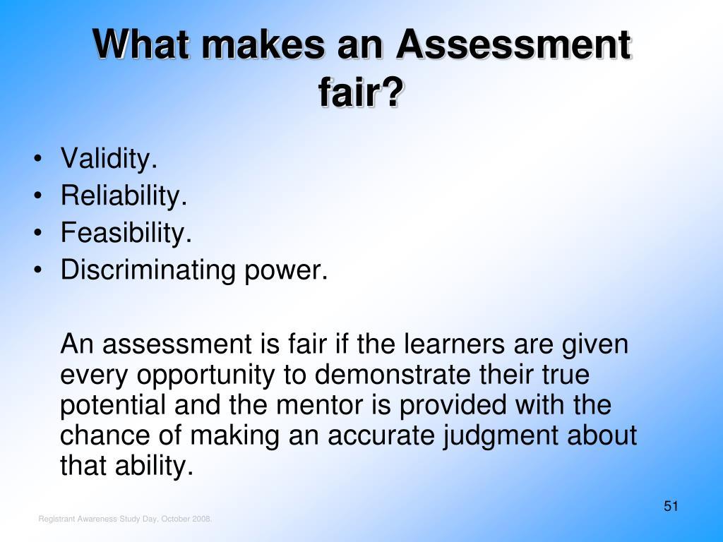 What makes an Assessment fair?