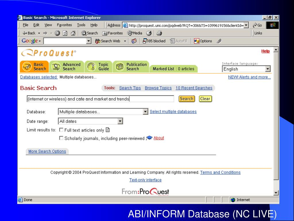ABI/INFORM Database (NC LIVE)