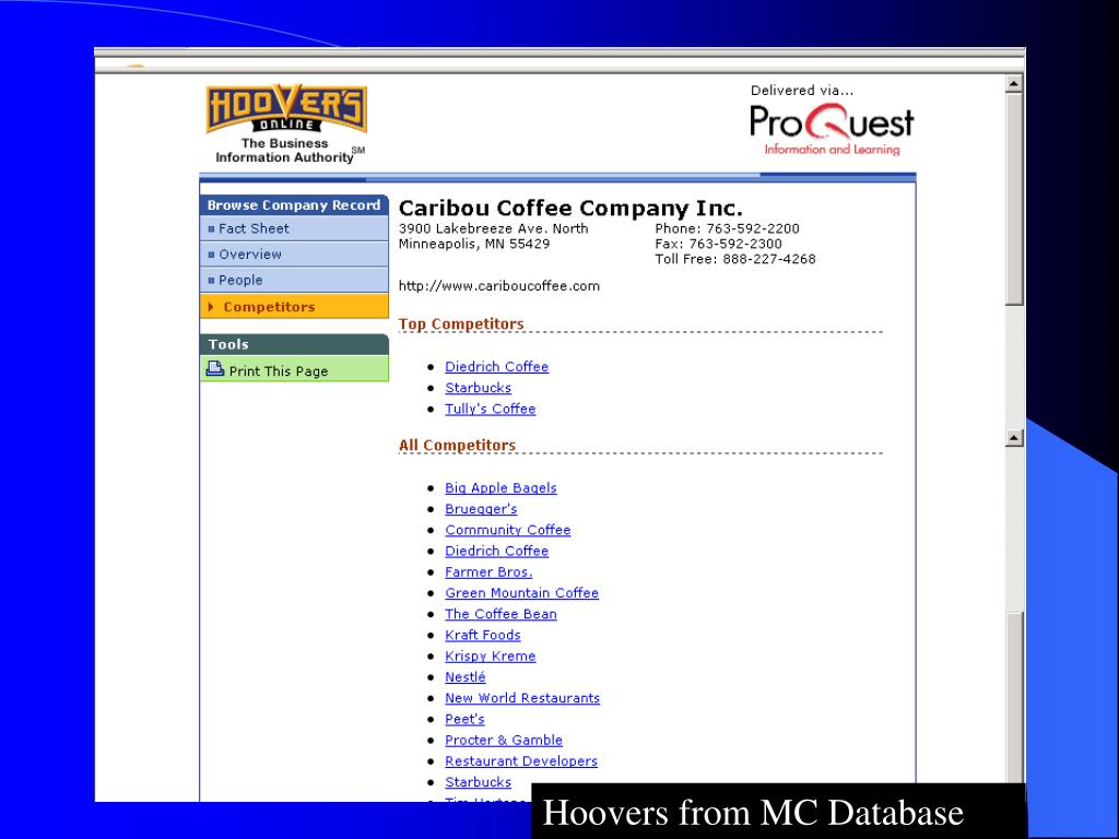 Hoovers from MC Database