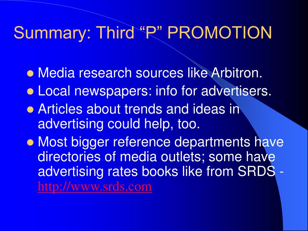 "Summary: Third ""P"" PROMOTION"