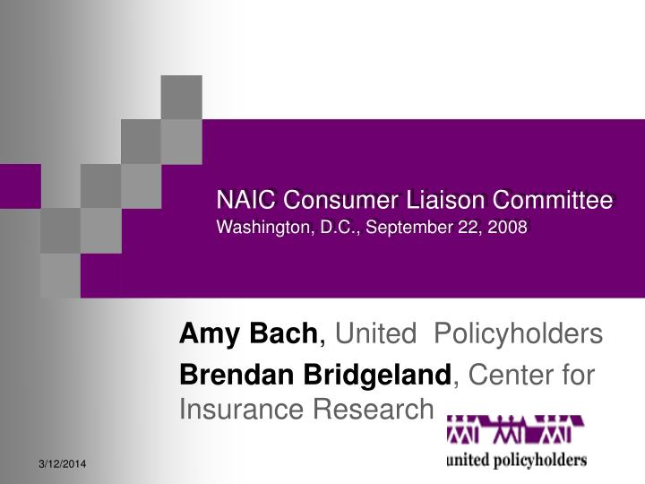 Naic consumer liaison committee washington d c september 22 2008