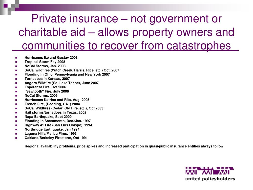 Private insurance – not government or   charitable aid – allows property owners and communities to recover from catastrophes