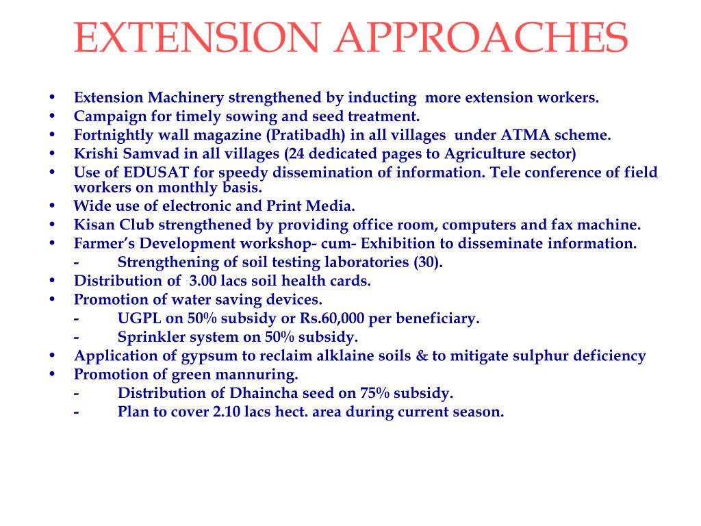 EXTENSION APPROACHES