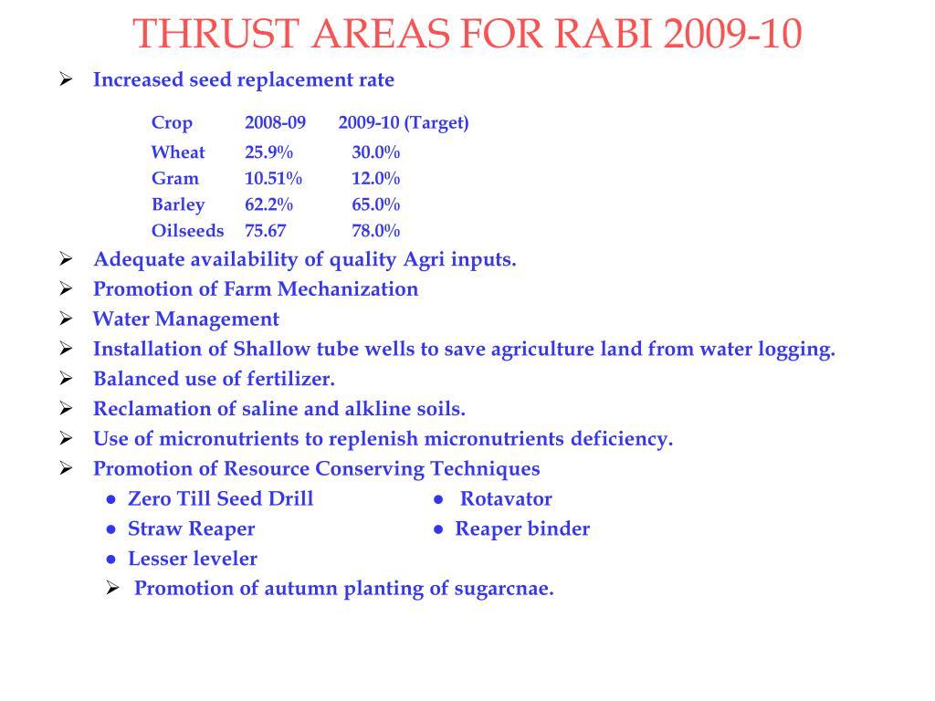 THRUST AREAS FOR RABI 2009-10