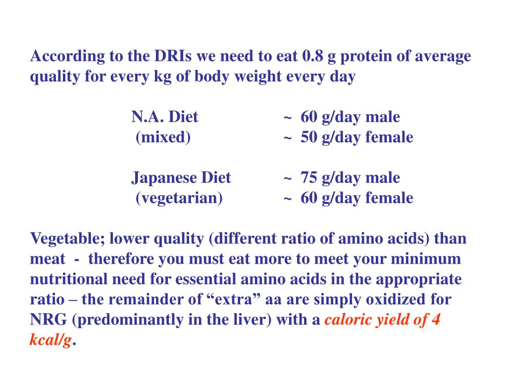According to the DRIs we need to eat 0.8 g protein of average quality for every kg of body weight every day