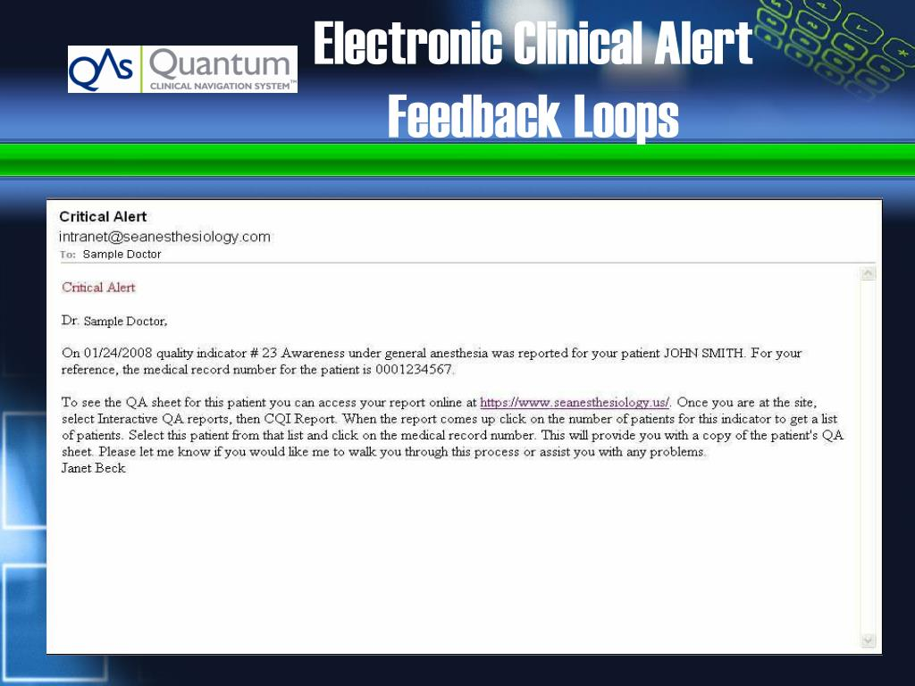 Electronic Clinical Alert