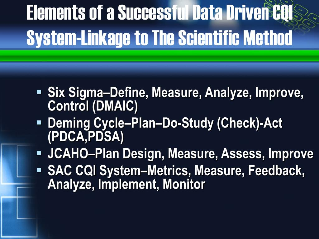 Elements of a Successful Data Driven CQI System-Linkage to The Scientific Method