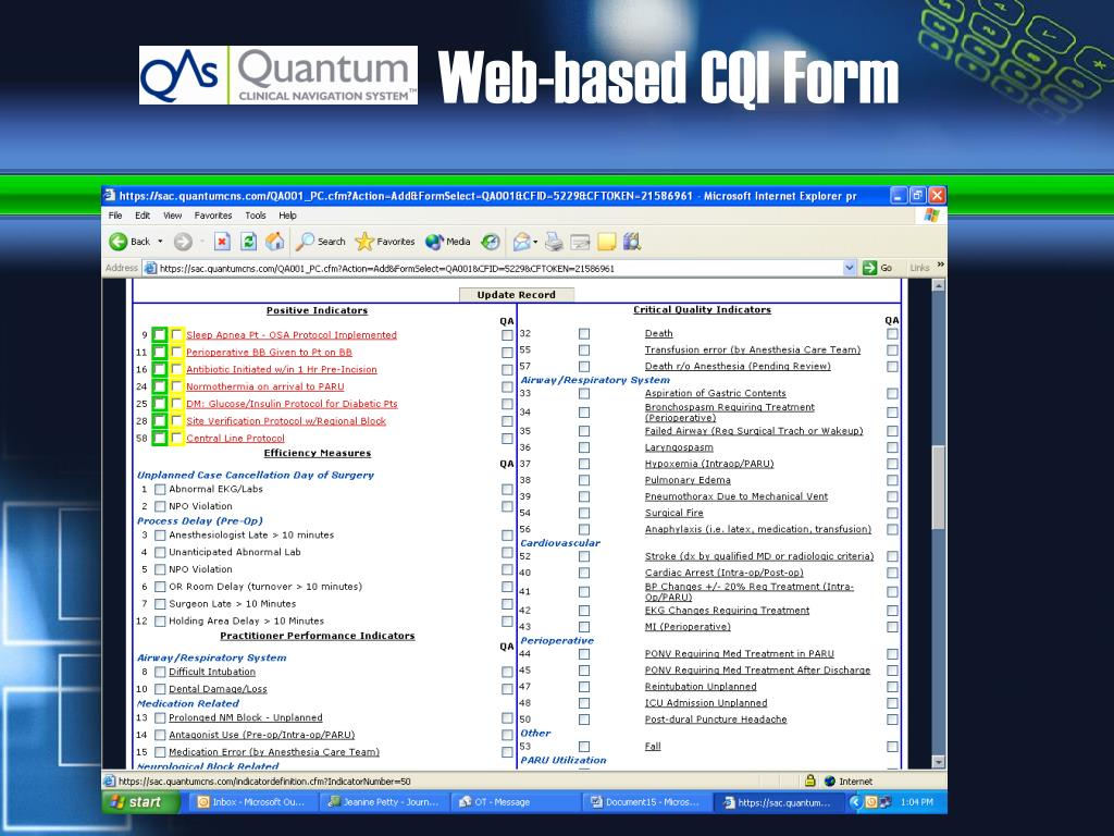 Web-based CQI Form