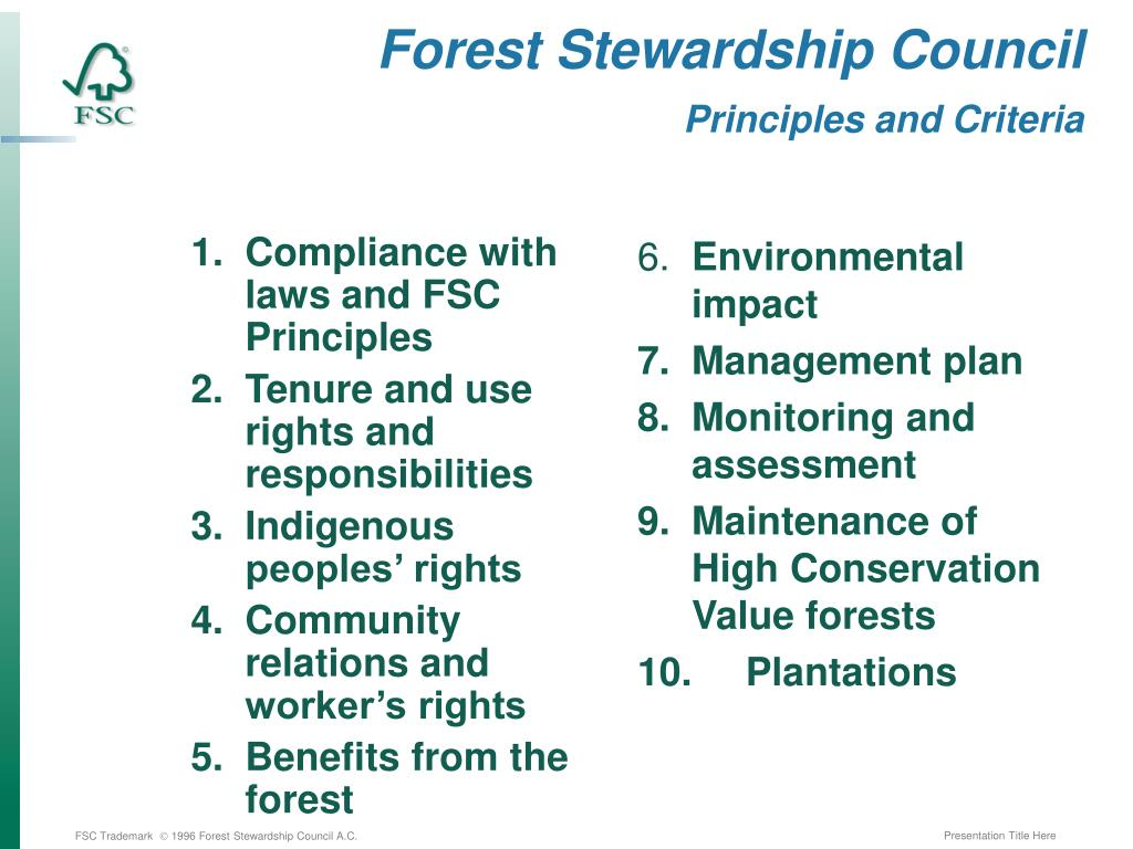 Compliance with laws and FSC Principles