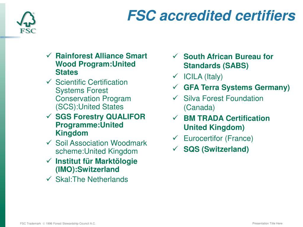 FSC accredited certifiers