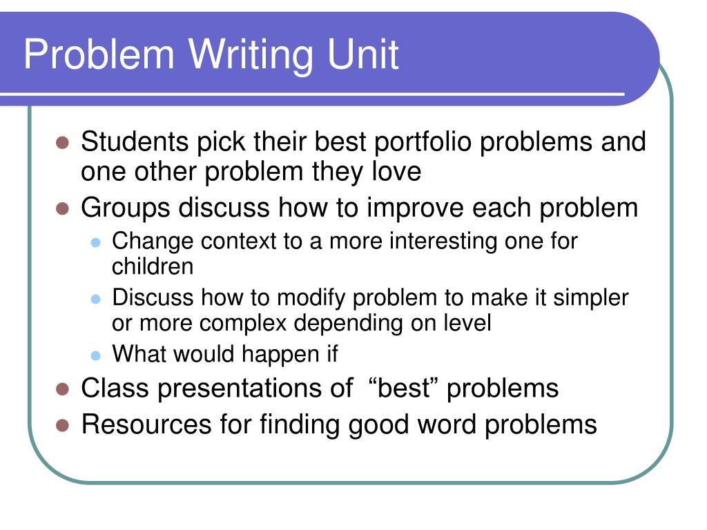 Problem Writing Unit
