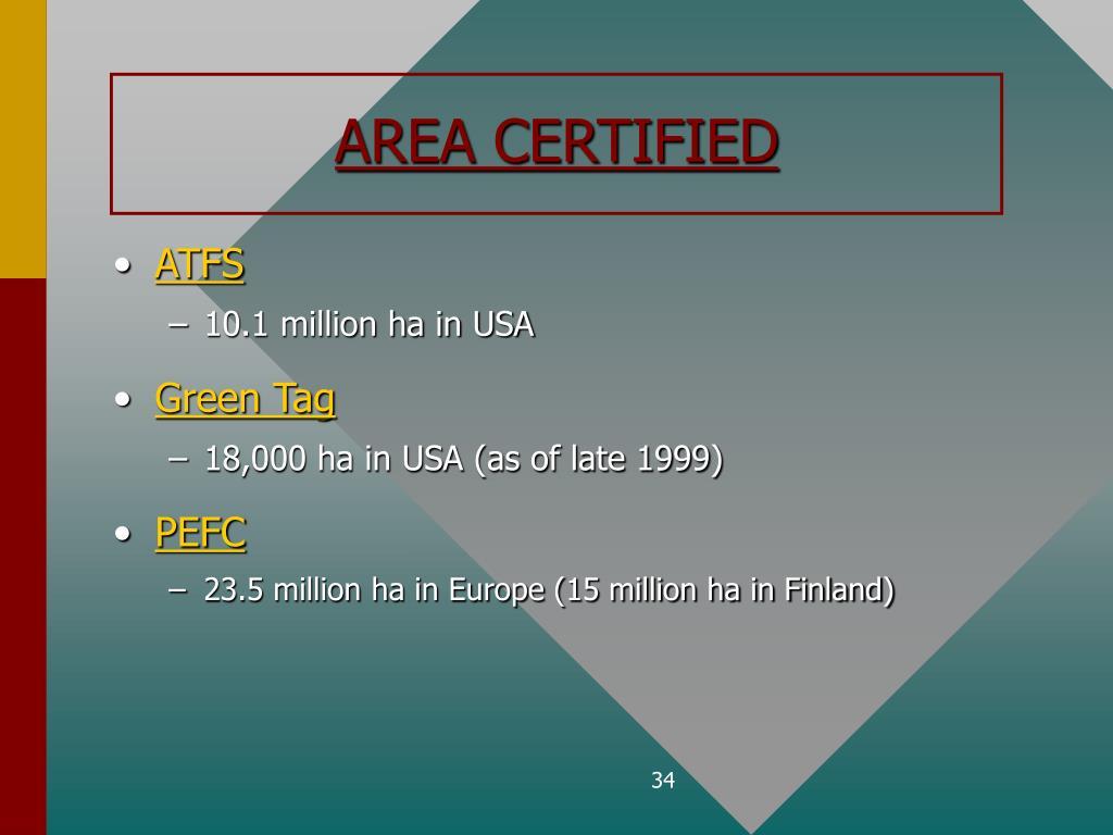 AREA CERTIFIED