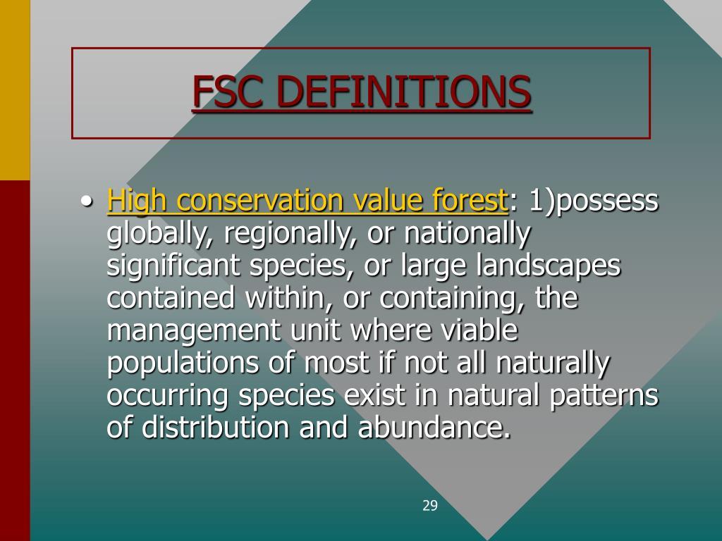 FSC DEFINITIONS