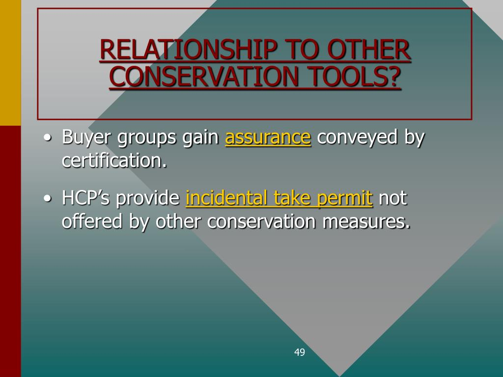 RELATIONSHIP TO OTHER CONSERVATION TOOLS?