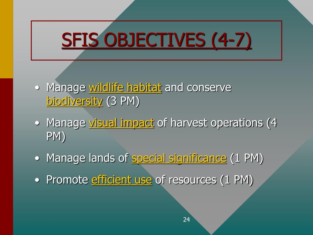 SFIS OBJECTIVES (4-7)