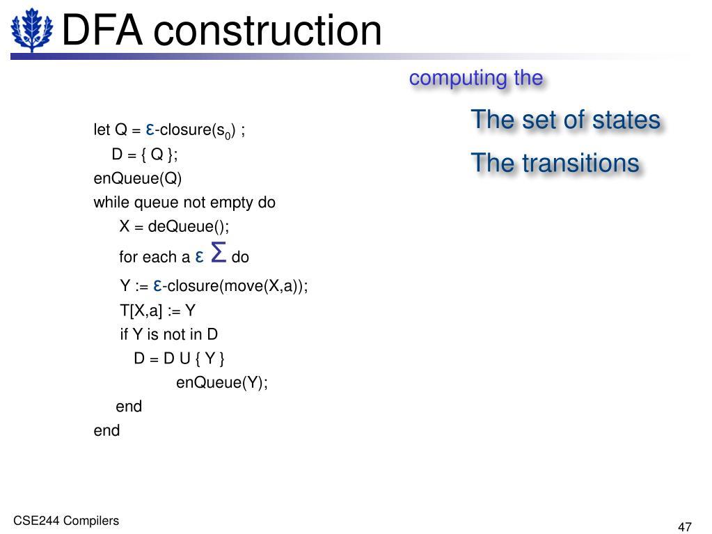 DFA construction