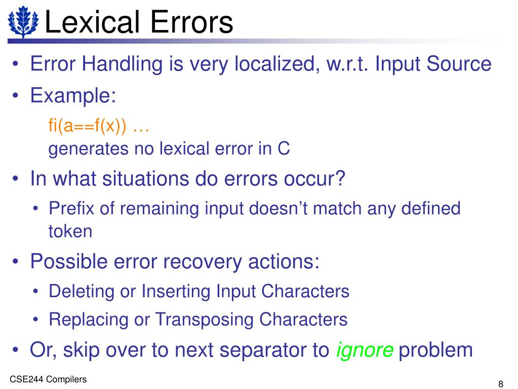 Lexical Errors