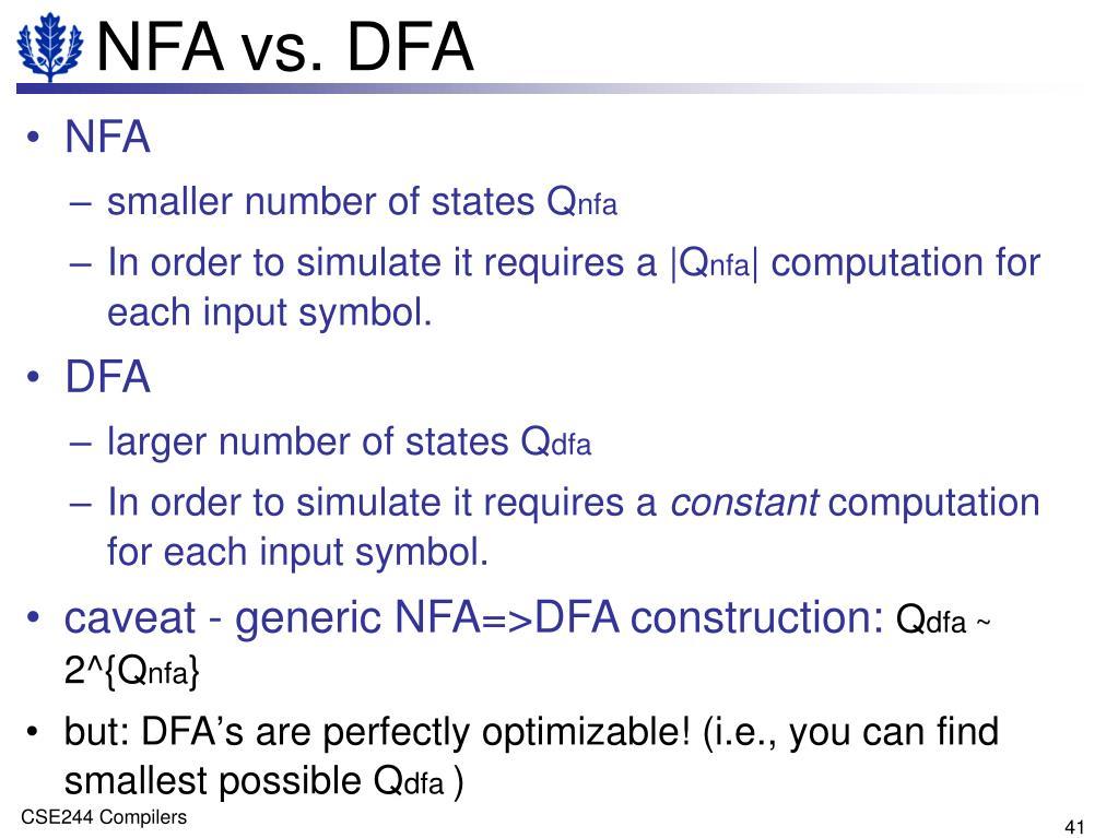 NFA vs. DFA