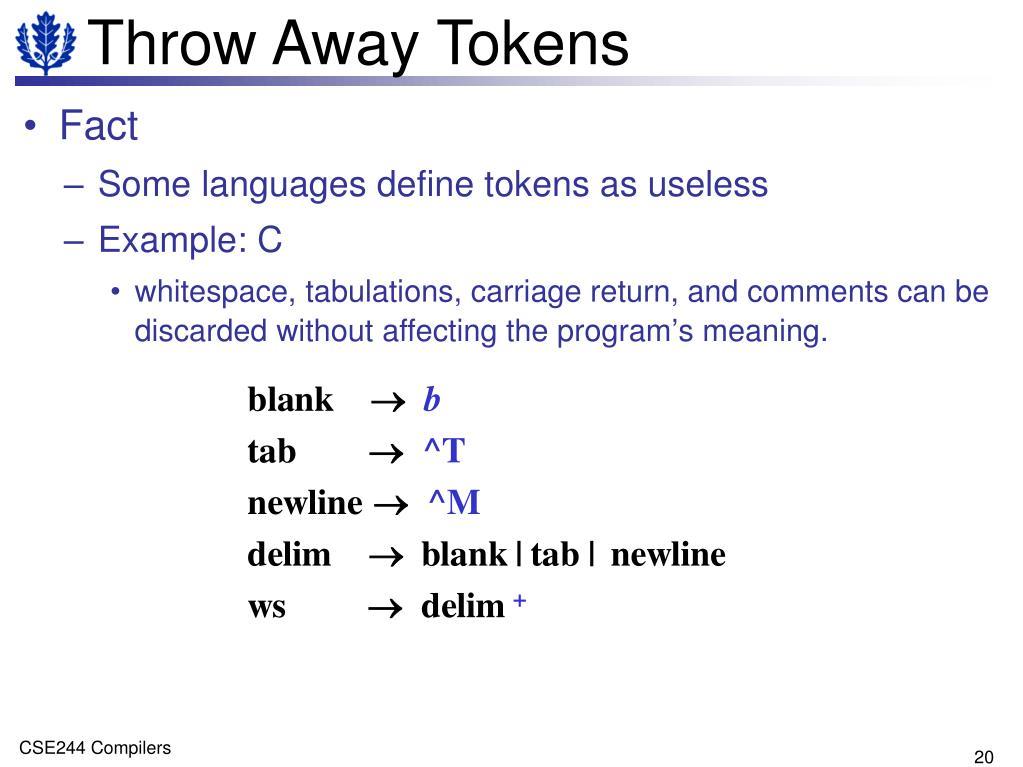 Throw Away Tokens
