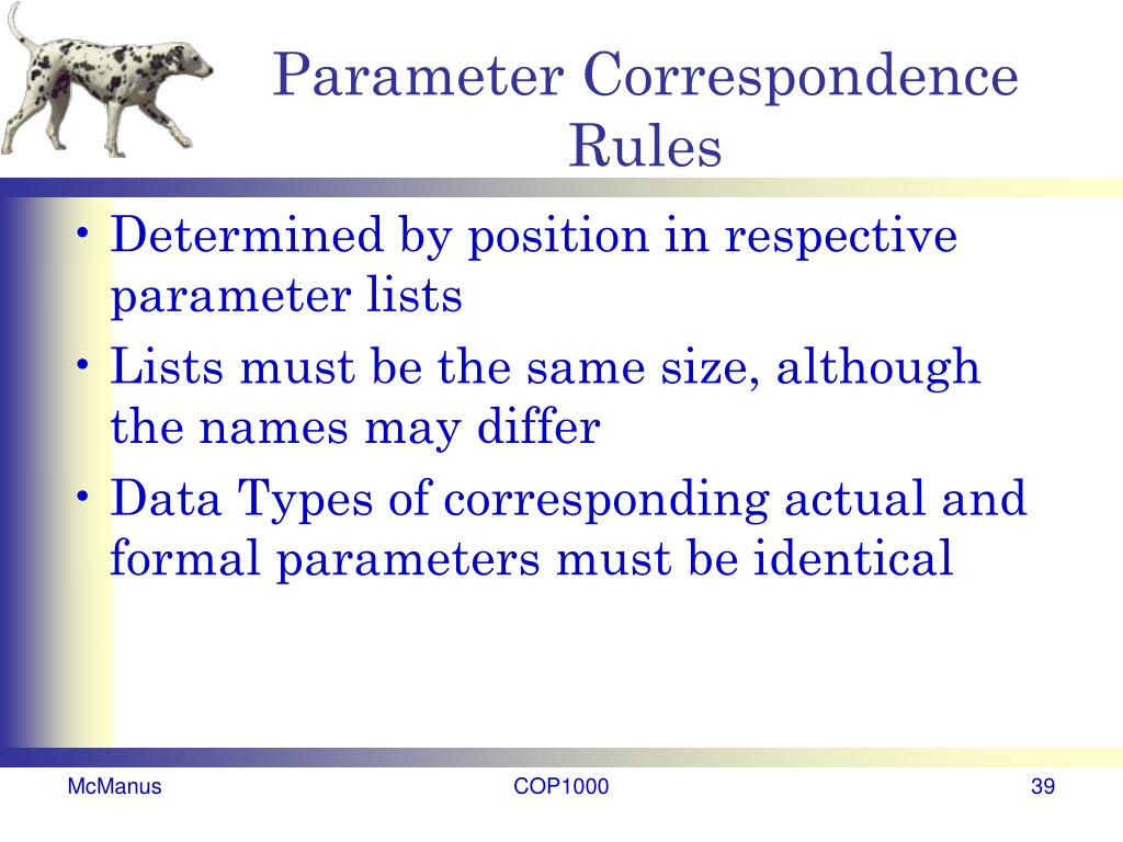 Parameter Correspondence Rules