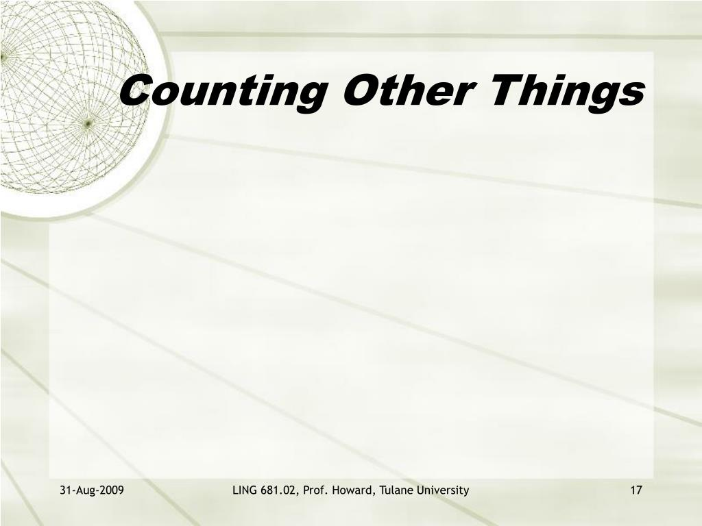 Counting Other Things