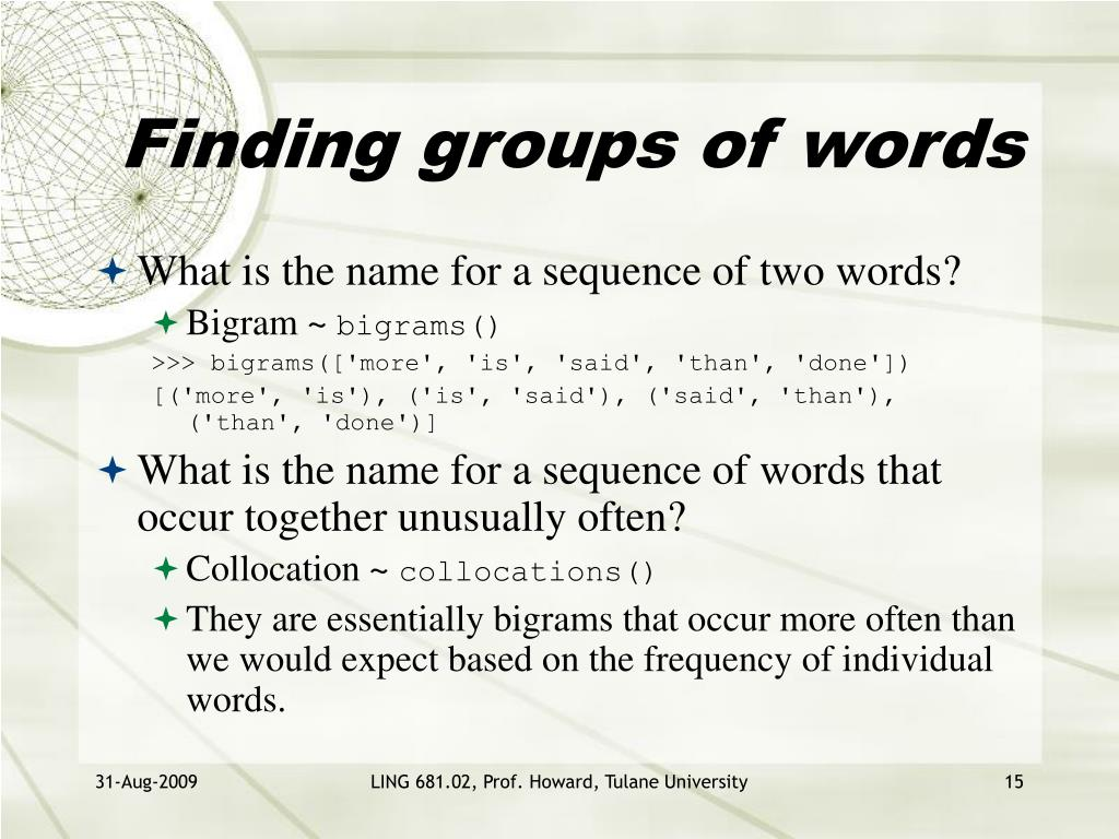 Finding groups of words