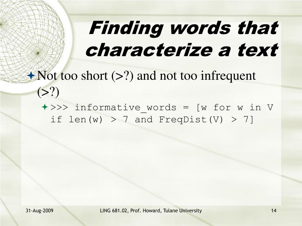 Finding words that characterize a text
