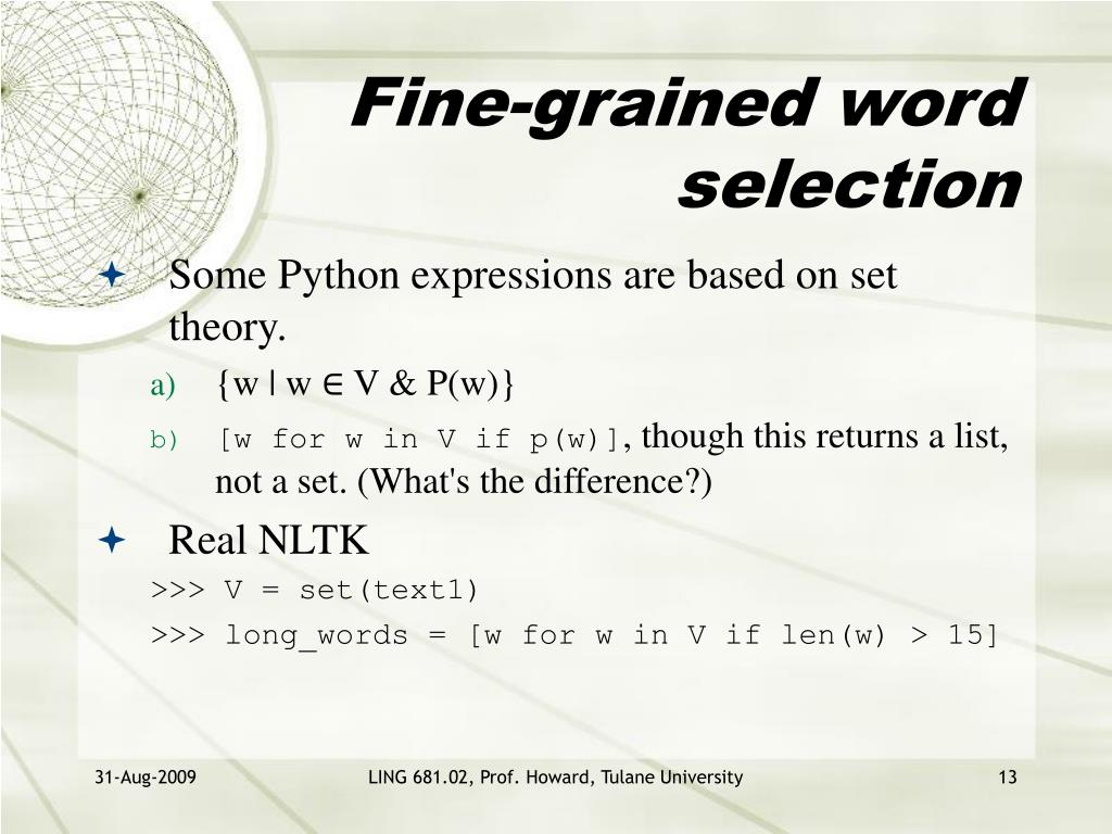 Fine-grained word selection
