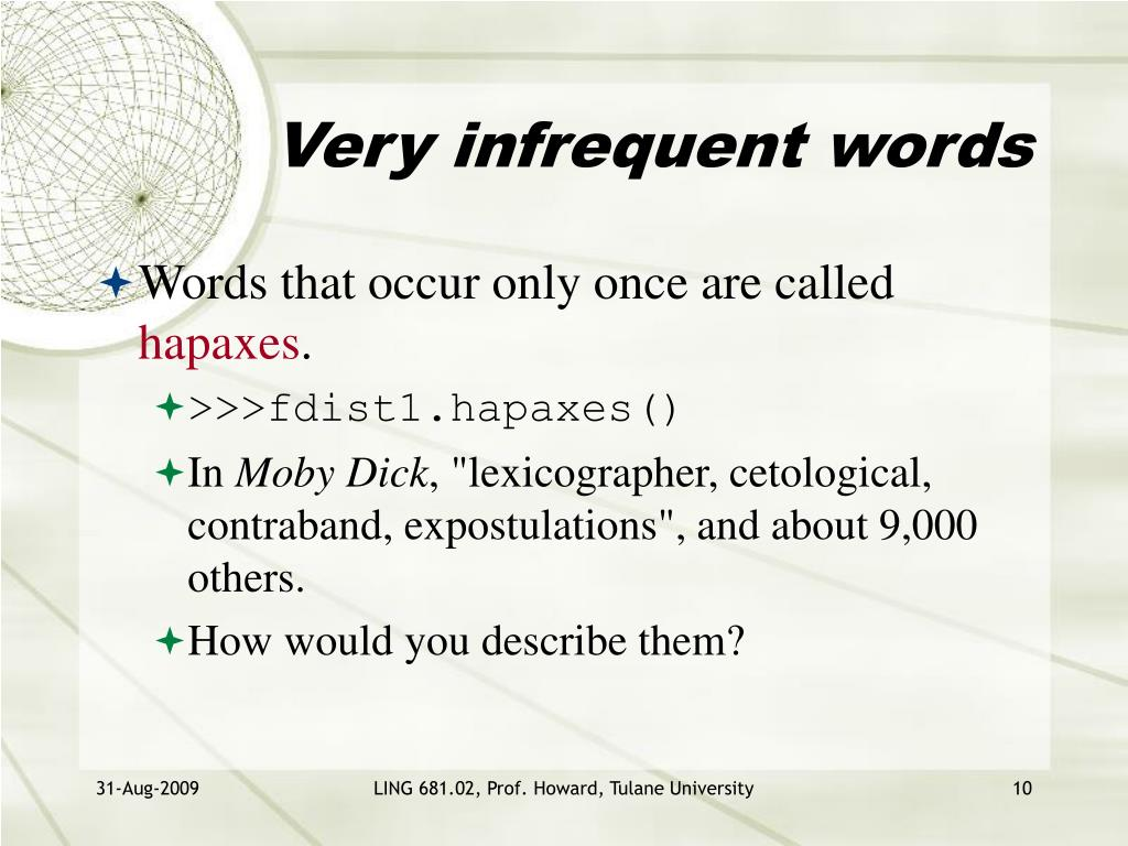 Very infrequent words