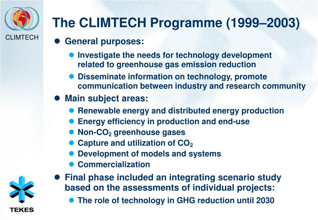 The CLIMTECH Programme (1999–2003)
