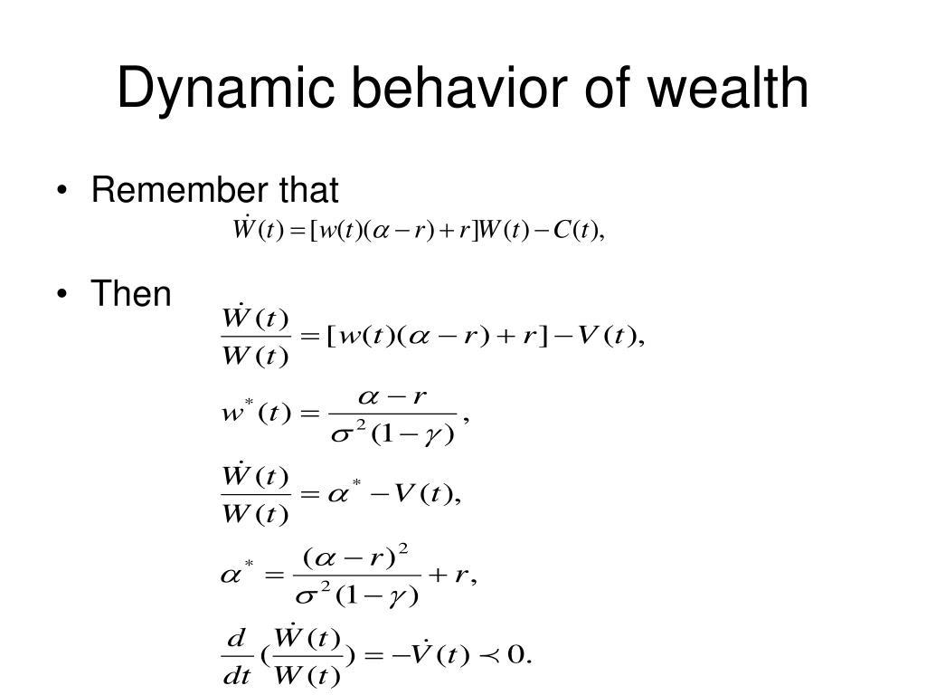 Dynamic behavior of wealth